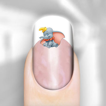 Nail Art Decal Disney Dumbo Elephant Transfer Set of 30 Images Adult Kid Sz