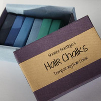 Cool Colored Hair Chalks - 6 Pack - Temporary Color Pastels, Shades of Blue and Teal