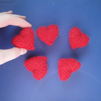 Handful of Hearts, Valentine's Day Sweet Hearts, Knit Hearts, Set of 5, Plushie Plush Hearts