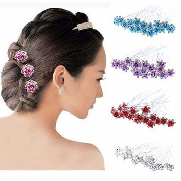 20Pcs/Lot Women Wedding Bridal Hairpins Crystal Rhinestone Rose Flower Hairpin Hair Clips Hair Jewelry Accessories High Quality