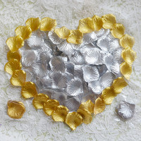 1000pcs/Lot Gold Silver Rose Petals Artificial Flower For Wedding Table Decorations Event Party Supplies Petals