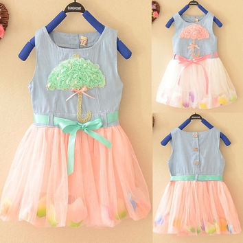 Cute 3D Umbrella Lace Baby Kid Girls Princess Flow Petals Denim Tulle Dress 1-4Y = 1930057348