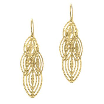 14K Yellow Gold 13.0X40.0 Shiny Diamond Cut 4-Mar Quise Shape Drop Earring with J Hook
