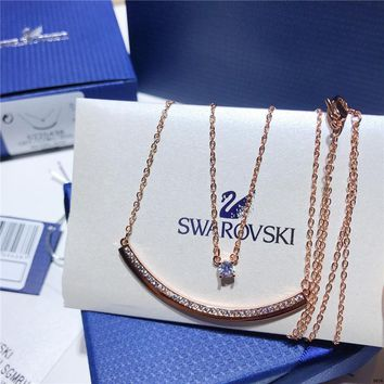 DCCK Swarovski new FRESH pendant double layer necklace simple rose gold clavicle chain necklace