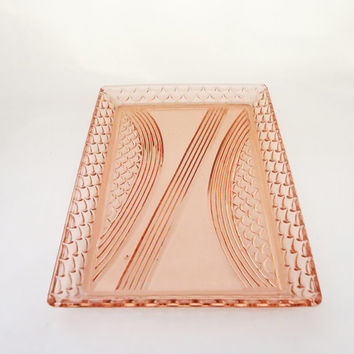 Vintage Dressing Table Tray, Pink Cut Glass Dressing Table Tray, Fish Scale Pattern Tray, UK Seller
