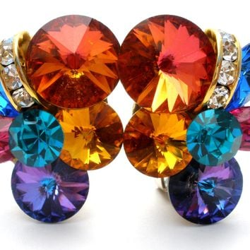 Multi Color Rivoli Rhinestone Earrings Vintage
