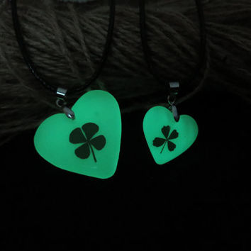 clover heart of atlantis glowing couple necklace,Matching necklace, 2pcs couple necklace puzzle piece heart shaped, glowing couple necklace