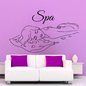 Nude Woman Wall Decals Girl Spa Massage Relax Beauty Salon Bathroom Home Vinyl Decal Sticker Bath Art Mural Home Design Decor KG798