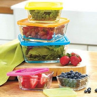 Bowl Set Glass Square Nesting Stackable 10 Pc Lids Storage Kitchen Prep Cook NEW