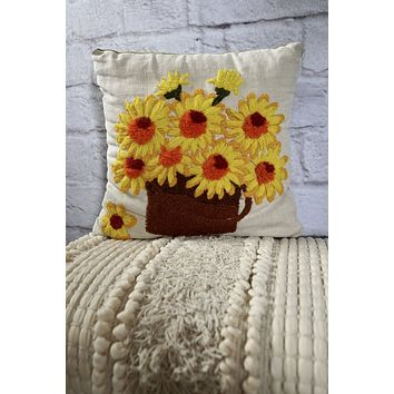 Vintage Sunflowers Embroidered Pillow