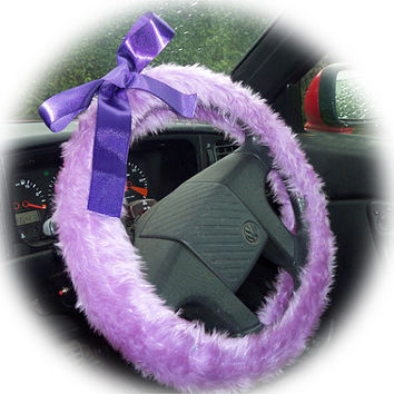 lilac steering wheel cover faux furry fur fluffy fuzzy car with large Purple Satin Bow cute girly girl heliotrope lavender