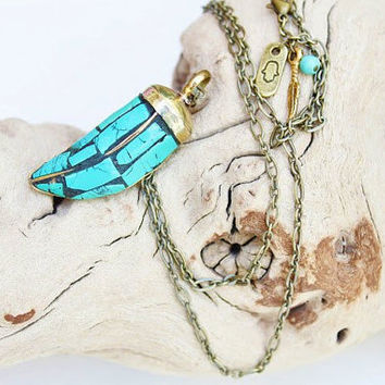 Tibetan Brass and Turquoise horn pendant long necklace/ethnic necklace/tribal/boho chic/unisex/bohemian/layering necklace