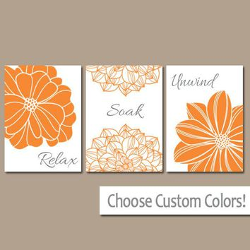 Orange BATHROOM Wall Art, CANVAS or Prints Bathroom Pictures Dahlia Flowers Art Relax Soak Unwind Quote Bathroom Decor  Set of 3 Home Decor