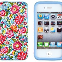 DandyCase 2in1 Hybrid High Impact Hard Colorful Blooming Flowers Pattern + Sky Blue Silicone Case Cover For Apple iPhone 4S & iPhone 4 + DandyCase Screen Cleaner