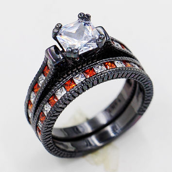 Victoria Wieck Lovers Antique jewelry Garnet Simulated Diamond 10KT Black Gold Filled Engagement Wedding band Ring Set Sz 5-11 Alternative Measures