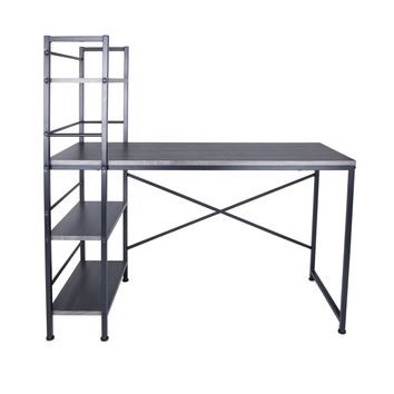 Evelyn Desk in Dark Sonoma with Black Powder Coated Legs