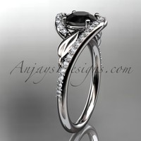 14k white gold diamond leaf and vine wedding ring, engagement ring with a Black Diamond center stone ADLR317