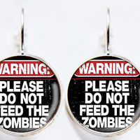 Warning / Caution Sign Earrings - Do Not Feed The Zombies - Geeky Jewelry