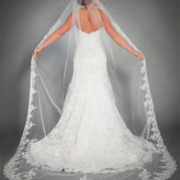 New 1Layer White Ivory Cathedral Length Lace Trim Wedding Bridal Veil with Comb