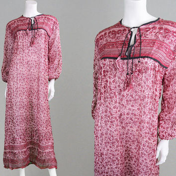 Vintage 70s Indian Cotton Gauze Dress Silver Lurex Hippy Dress Pink & Red Paisley Print Sheer Dress Block Print Boho Dress Festival Dress