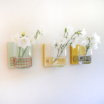TREEO: modern cottage decor wall mount flower vases