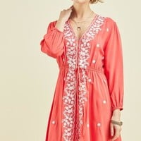 Coral Embroidered Tiewaist Dress