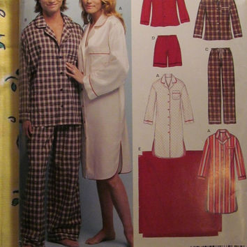 SALE Uncut Simplicity New Look Sewing Pattern, 6416! XS/Sml/Medium/Large/XL/Women's/Men's/Pajama Tops & Bottoms/Long Night Shirts/Lingerie