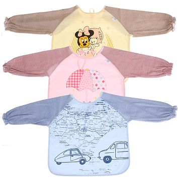 Cartoon Long Sleeve Waterproof Baby Bibs Toddler Kids Cotton Scarf Baby Boys Girls Feeding Art Smock Apron