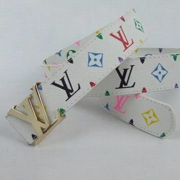 LV Men Women Fashion Smooth Buckle Belt Leather Belt