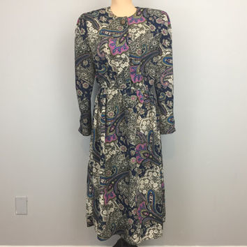 80s Dress Navy Blue Floral Dress Lace Print Paisley 1980s Size 12 Large Dress Battenburg Lace Long Sleeve FREE SHIPPING Women Clothing