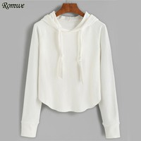 ROMWE White Brief Hoodies Raglan Sleeve Women Casual Bts Hoodie Sweatshirt 2017 Autumn New Long Sleeve Drawstring Plain Hoodies