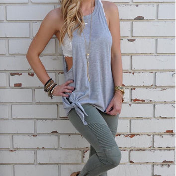 Loose Strappy Solid Color Shirt Blouse Tops
