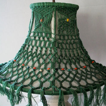 Vintage Lamp Shade Macrame Green 1960s Hippie Retro Boho