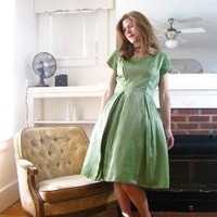 Vintage 1950s Party Dress Full Skirt Green by blythehopesvintage