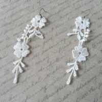 Long Lace Earrings, Ivory Duster Very Long Earrings, Extra Long Floral Statement Earrings