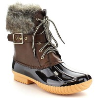 Nature Breeze Duck-01 Women's Chic Lace Up Buckled Duck Waterproof Snow Boots,Tan,8.5