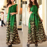 2015 Summer Women Casual Leopard Maxi Dress Fashion Beach Chiffon Long Dresses Tropical Roupas Vestidos Longo Femininos = 1946796164