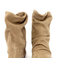 Steve Madden Headlne Taupe Suede Slouchy Wedge Boots