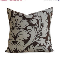50% OFF SALE Brown Damask Pillow Cover - 20 x 20 - Floral Pillow - Same Fabric BOTH Sides - Invisible Zipper