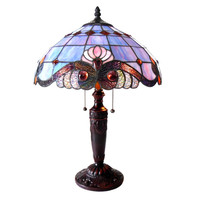 "CHLOE Lighting SHELLY Tiffany-style 2 Light Victorian Table Lamp 14.5"" Shade"