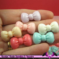 10 pcs Pastel BOWS Acrylic Kawaii Decoden Cabochons 23x13mm