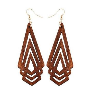 Women's Geometric Wooden Hollow Triangle Earrings
