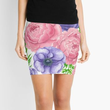 'Watercolor pattern with peony and anemone flowers' Mini Skirt by Katerina Kirilova