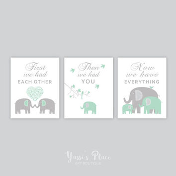 Elephant Wall Art, First We Had Each Other, Green and Gray Elephant Nursery Decor, Boy bedroom Wall Art, Elephant baby shower, Yassisplace