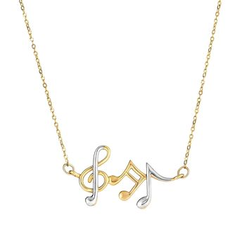 14K Yellow-White Gold Musical Notes Necklace  Anchored to Link Chain with Spring Ring Clasp