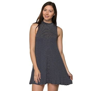 Chic Striped Mockneck Sleeveless Trapeze Mini A-Line Tunic Dress