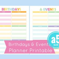 a5 birthday calendar, a5 planner inserts, birthdays and events, filofax birthday printable, filofax birthday calendar, a5 planner