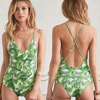 Backless Green Leaf Print One Piece Swimsuit Swimwear
