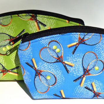 Green or Blue Tennis Makeup Bag/Zippered Pouch Padded Flat Bottom Round Top