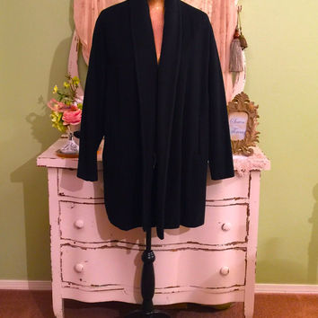 Black Cashmere Coat, 50s Vintage Coat, Soft Winter Coat, One Size, Hollywood Glam, Long Black Jacket, Elegant Robe Coat, Minimalist Coat